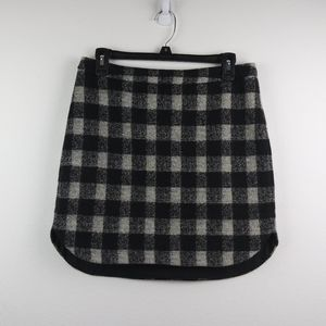 Madewell Shirttail Skirt Buffalo Plaid Wool Blend